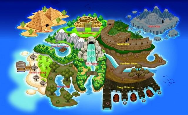 mapa ostrova ve Fishao